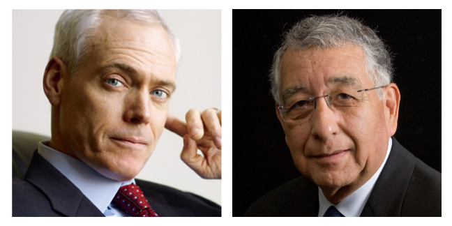 Two square photographs: on the left is a headshot of Jim Collins (wearing a navy suit, blue shirt and red tie); on the right is a headshot of Jerry Porras (wearing a black suit, white shirt, blue tie and glasses)