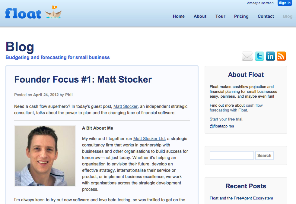 Screen shot of the Float blog showing the article, 'Founder Focus #1: Matt Stocker'