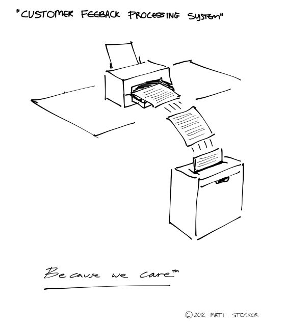 "The cartoon drawing starts with the description ""Customer Feedback Processing System"". Below that is a drawing of a printer spewing out pages of customer feedback straight into a shredder below. The caption underneath reads, ""Because we care (tm)"""