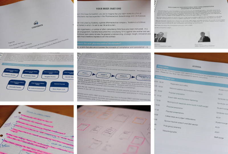 First photo showing some of the many elements of the case study competition