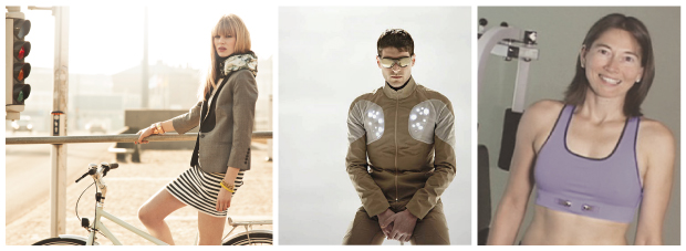 Three photographs of people wearing sports technology. From left to right: 1) A woman holding onto a railing and standing astride a white bicycle. She is wearing a black and white striped dress, a coffee coloured smart jacket and around her neck she is wearing a Hövding airbag. 2) A man sitting on a stool wearing sunglasses. He is also wearing a Sporty Supaheroe jacket and the white LEDs are lit either side of his chest. 3) A woman standing with her hands on her hips. She is wearing a blue NuMetrex sports bra.