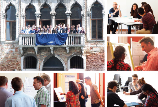 Collection of photos from the Marie Curie CAS-IDP Networking Meeting, May 2014. Clockwise from top left: whole group of researchers, supervisors and industrial partners standing outside on the balcony of Palazzo Pesaro-Papafava, Warwick in Venice; small group of ESRs mid-discussion in a training workshop; ESR talking to an academic member of staff about the poster describing her research; small group of ESRs mid-discussion during a training workshop; group of ESRs standing around a poster, pointing to its contents and mid-discussion; supervisors and industrial partners discussing the outcome of ESRs training sessions.
