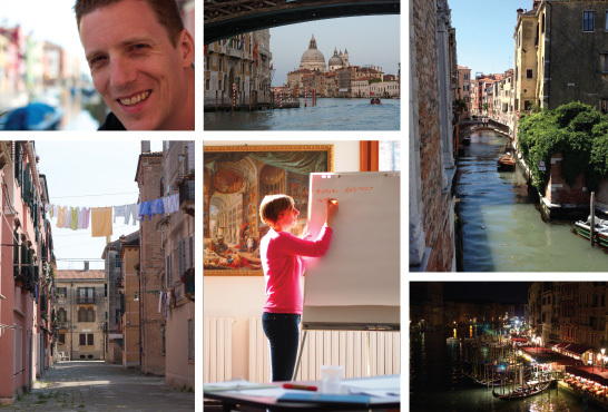 Collection of photos from the Marie Curie CAS-IDP Networking Meeting, May 2014. Clockwise from top left: close up of Matt smiling with Burano in the background; view of Santa Maria della Salute from the water of the Grand Canal; canal side view from the balcony of Palazzo Persaro-Papafava, Warwick in Venice; view from the Rialto Bridge at night time with lights glistening across the Grand Canal; Debbie writing on a flip chart during facilitation of a training session; view of a Venetian street with washing strung across the street.