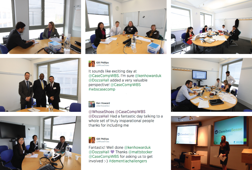 Photo and Twitter collage from the 2014 WBS International Healthcare Case Competition showing participants meeting with experts, teams working on the challenge and a team as they presented.