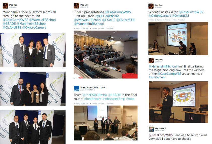 Photo and Twitter collage from the 2014 WBS International Healthcare Case Competition showing  the three semi-finalists (Mannheim Business School, ESADE and Said Business School, University of Oxford) in action.