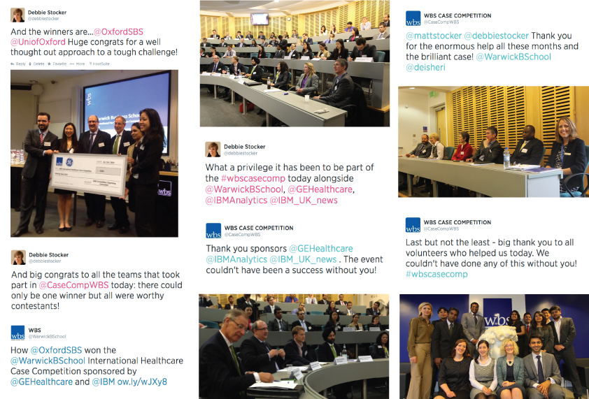 Photo and Twitter collage from the 2014 WBS International Healthcare Case Competition showing the winner's announcement, judging in action, and experts, judges and the WBS Executive Team..