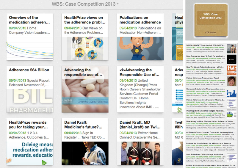 A photo showing an Evernote snapshot of all the research that went into creating the case study competition