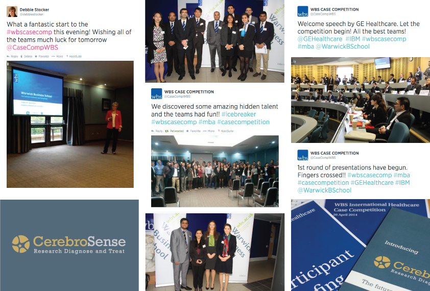 Photo and Twitter collage from the 2014 WBS International Healthcare Case Competition showing the welcome icebreaker event on Friday night, the kick off of the competition day itself, and case materials.